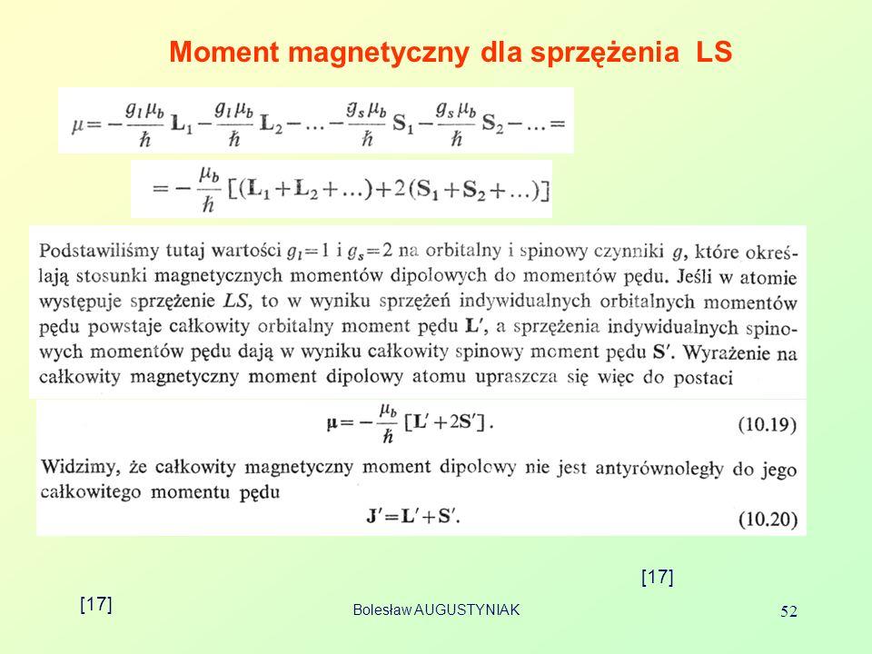 Moment magnetyczny dla sprzężenia LS