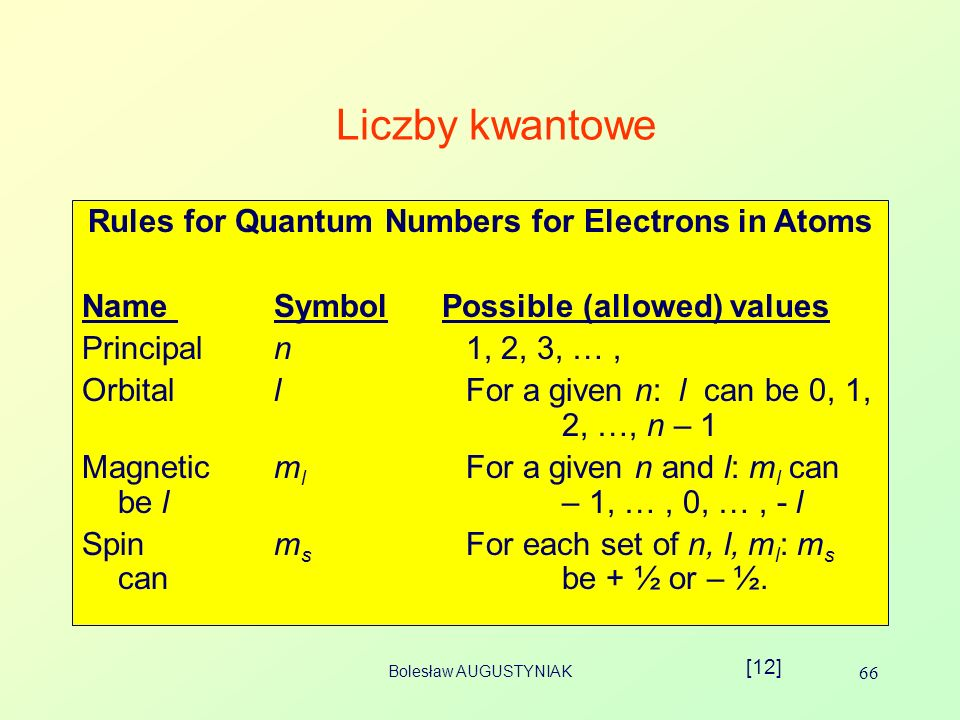 Rules for Quantum Numbers for Electrons in Atoms