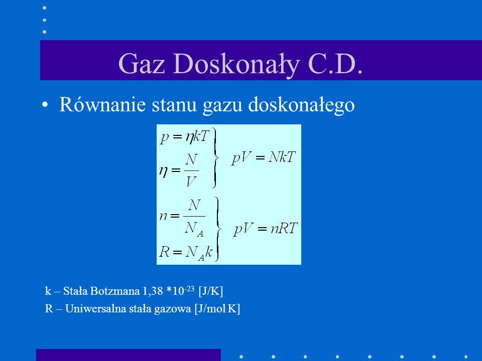 Gaz Doskonały C.D. Równanie stanu gazu doskonałego