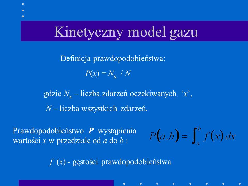 Kinetyczny model gazu Definicja prawdopodobieństwa: P(x) = Nx / N