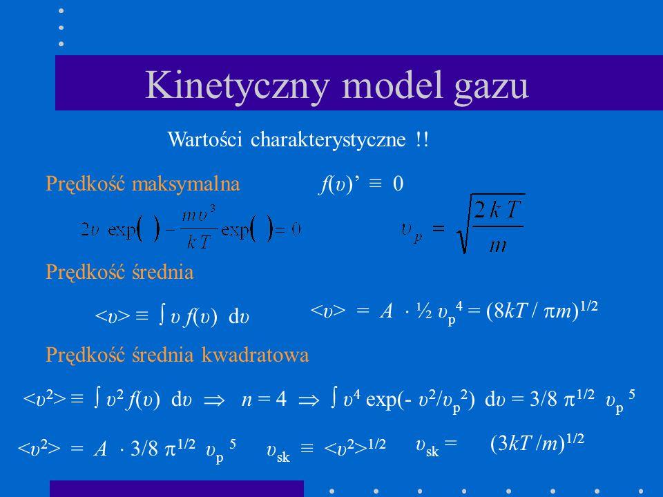 Kinetyczny model gazu Wartości charakterystyczne !!