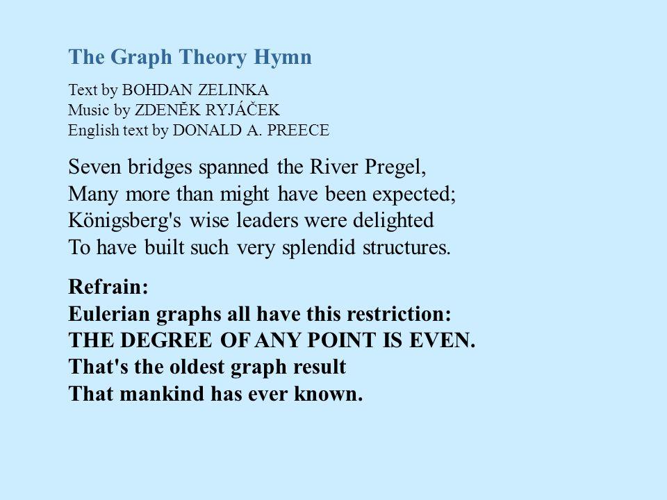 The Graph Theory HymnText by BOHDAN ZELINKA Music by ZDENĔK RYJÁČEK English text by DONALD A. PREECE.