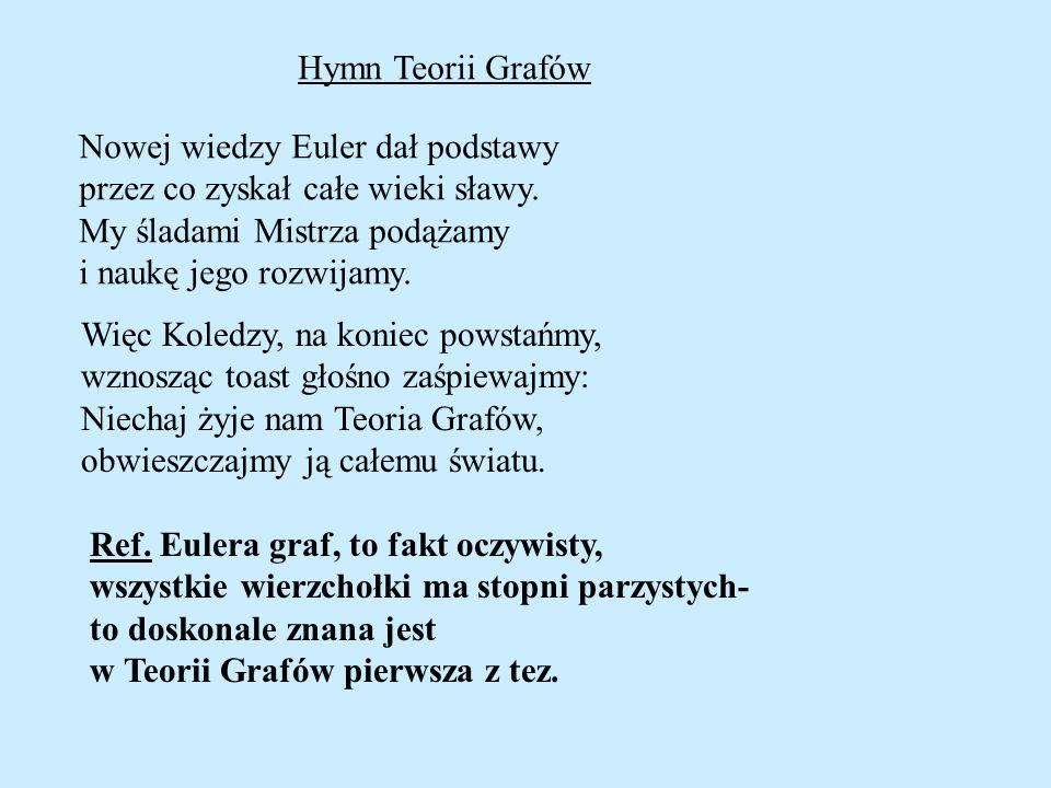 Hymn Teorii Grafów Nowej wiedzy Euler dał podstawy. przez co zyskał całe wieki sławy. My śladami Mistrza podążamy.