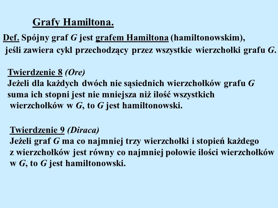 Grafy Hamiltona.Def. Spójny graf G jest grafem Hamiltona (hamiltonowskim), jeśli zawiera cykl przechodzący przez wszystkie wierzchołki grafu G.