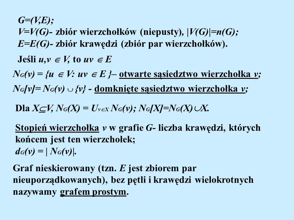 G=(V,E); V=V(G)- zbiór wierzchołków (niepusty), |V(G)|=n(G); E=E(G)- zbiór krawędzi (zbiór par wierzchołków).