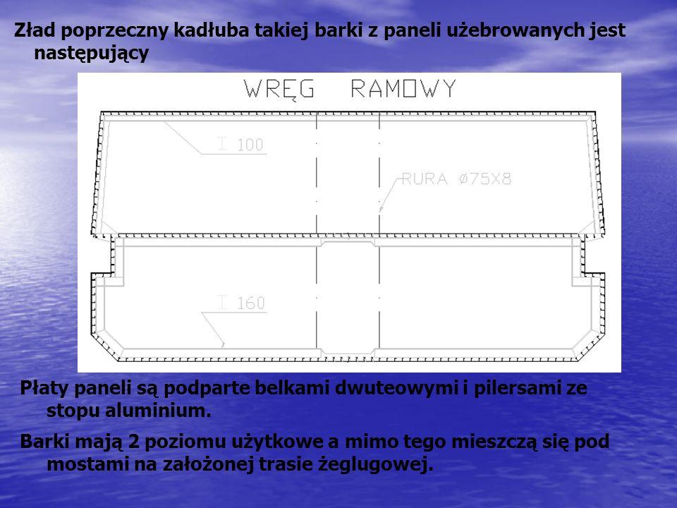 Zład poprzeczny kadłuba takiej barki z paneli użebrowanych jest następujący