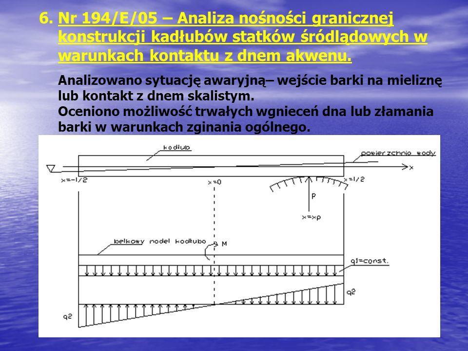 Nr 194/E/05 – Analiza nośności granicznej konstrukcji kadłubów statków śródlądowych w warunkach kontaktu z dnem akwenu.