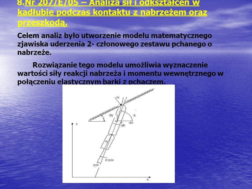 Nr 207/E/05 – Analiza sił i odkształceń w kadłubie podczas kontaktu z nabrzeżem oraz przeszkodą.