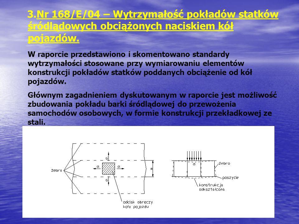 Nr 168/E/04 – Wytrzymałość pokładów statków śródlądowych obciążonych naciskiem kół pojazdów.