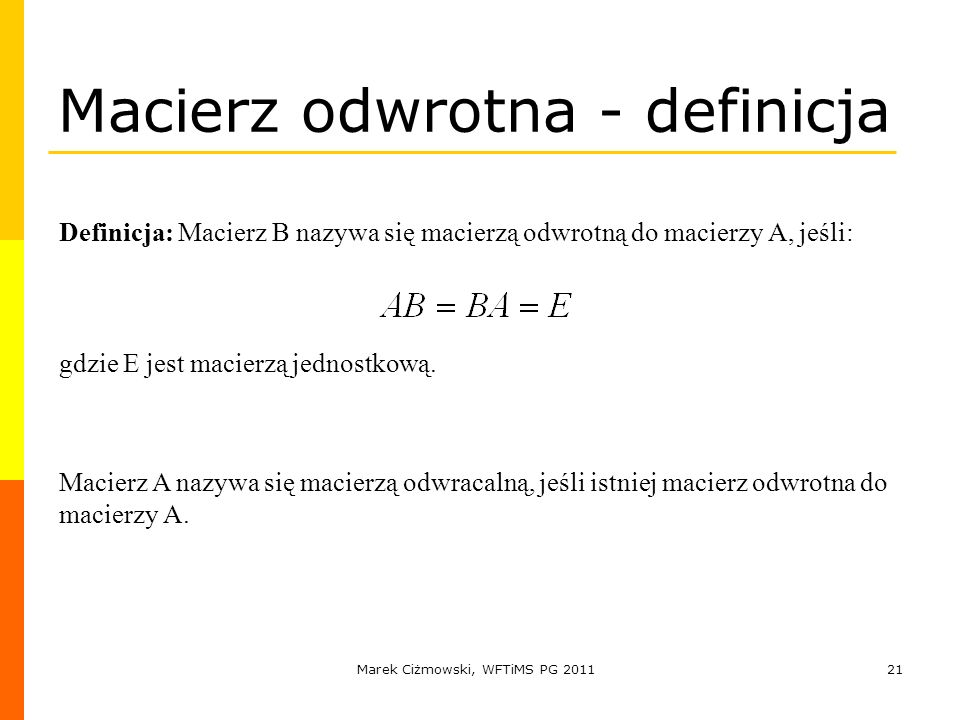 Macierz odwrotna - definicja