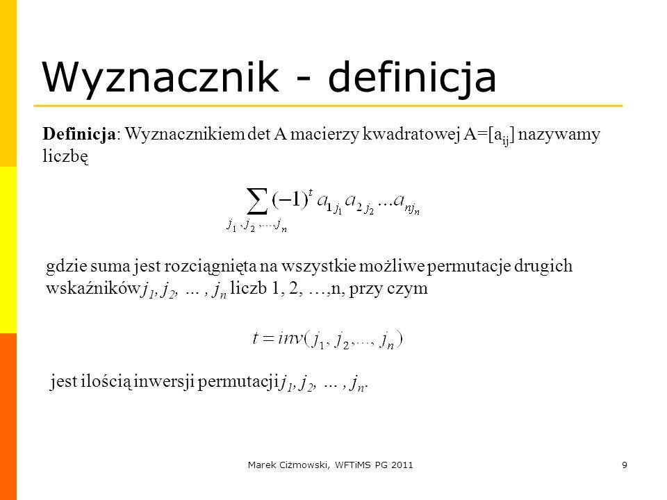 Wyznacznik - definicja