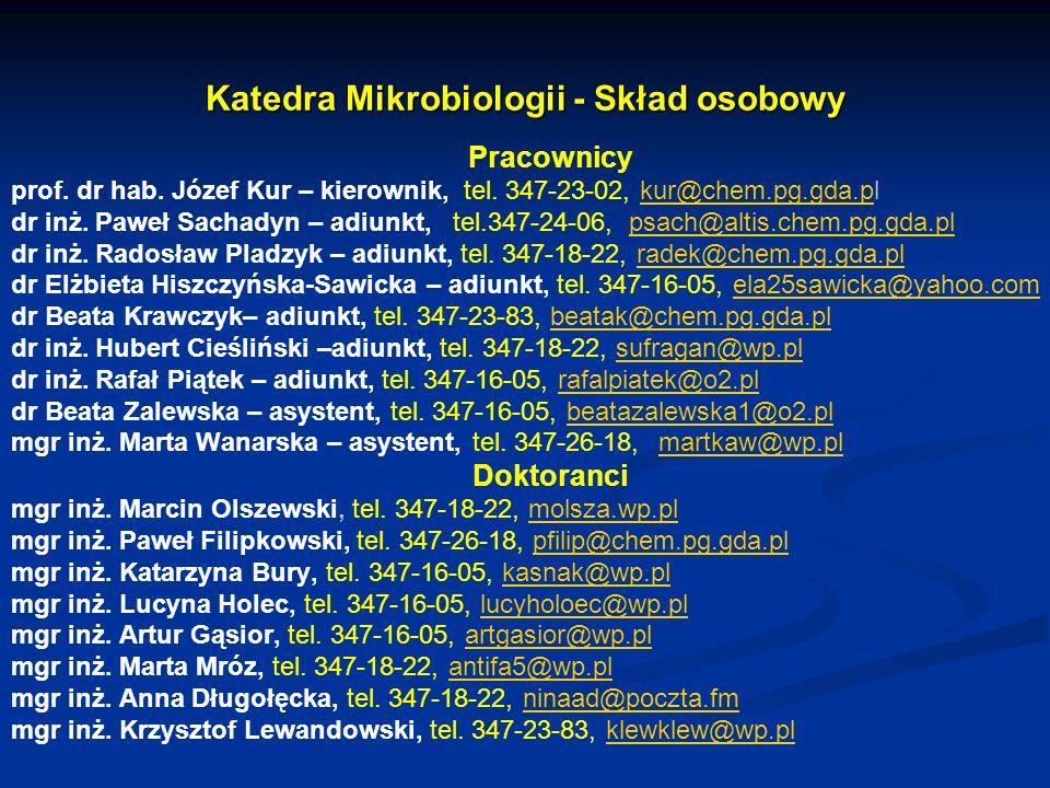Katedra Mikrobiologii - Skład osobowy