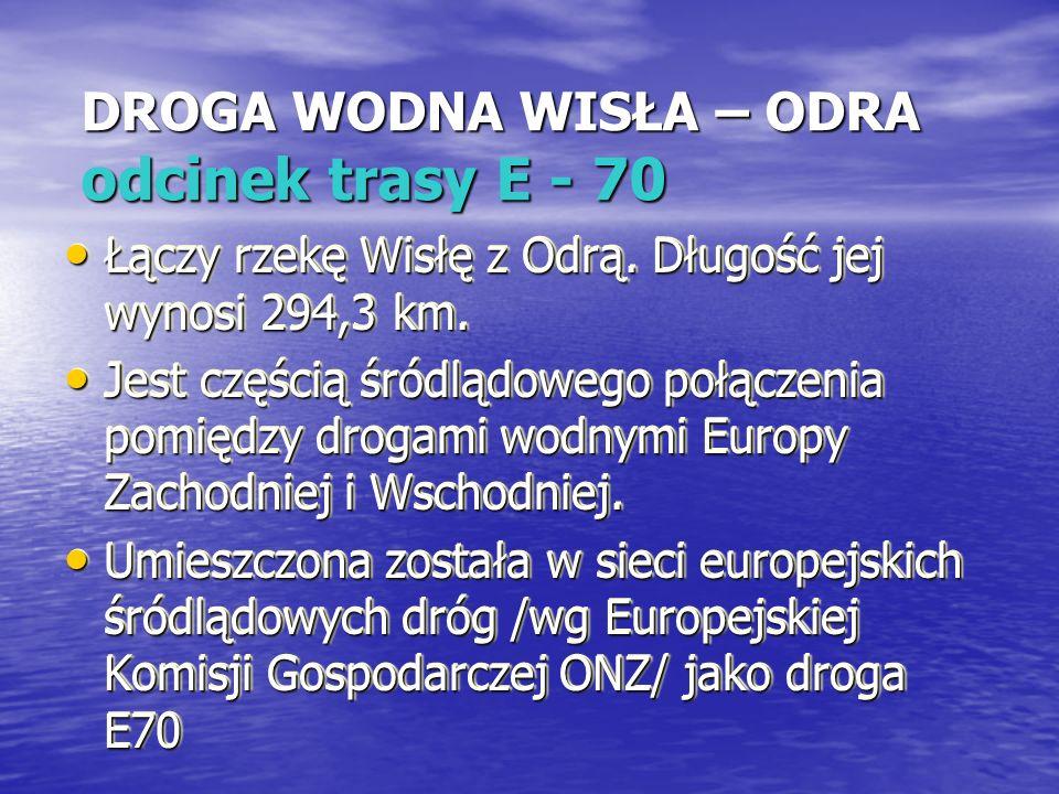DROGA WODNA WISŁA – ODRA odcinek trasy E - 70