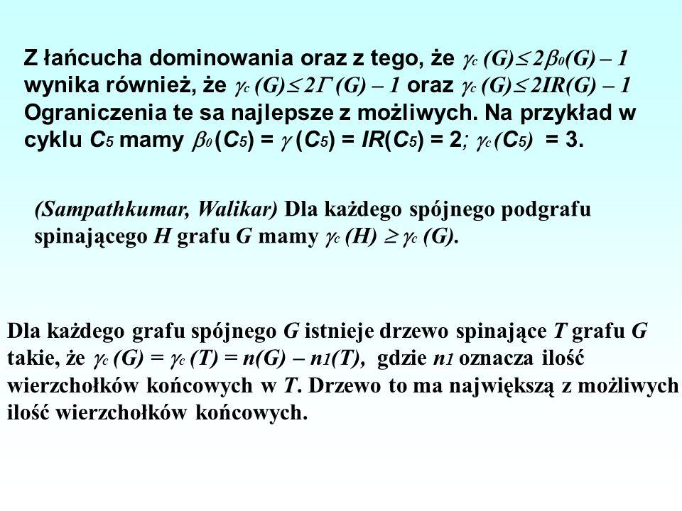 Z łańcucha dominowania oraz z tego, że c (G) 20(G) – 1 wynika również, że c (G) 2 (G) – 1 oraz c (G) 2IR(G) – 1 Ograniczenia te sa najlepsze z możliwych. Na przykład w cyklu C5 mamy 0 (C5) =  (C5) = IR(C5) = 2; c (C5) = 3.