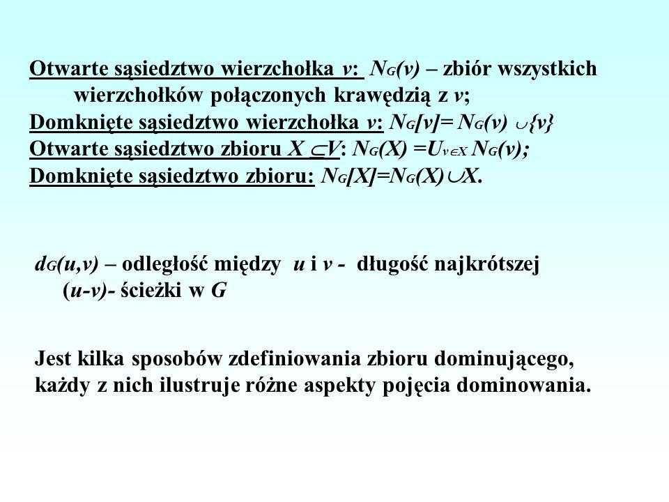 Otwarte sąsiedztwo wierzchołka v: NG(v) – zbiór wszystkich wierzchołków połączonych krawędzią z v;