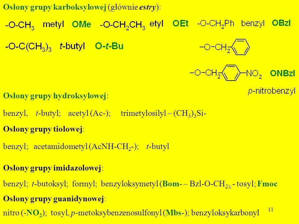 Osłony grupy karboksylowej (głównie estry):