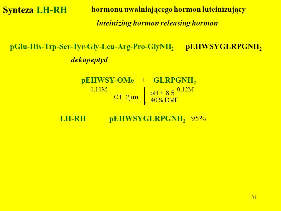 Synteza LH-RH dekapeptyd hormonu uwalniającego hormon luteinizujący