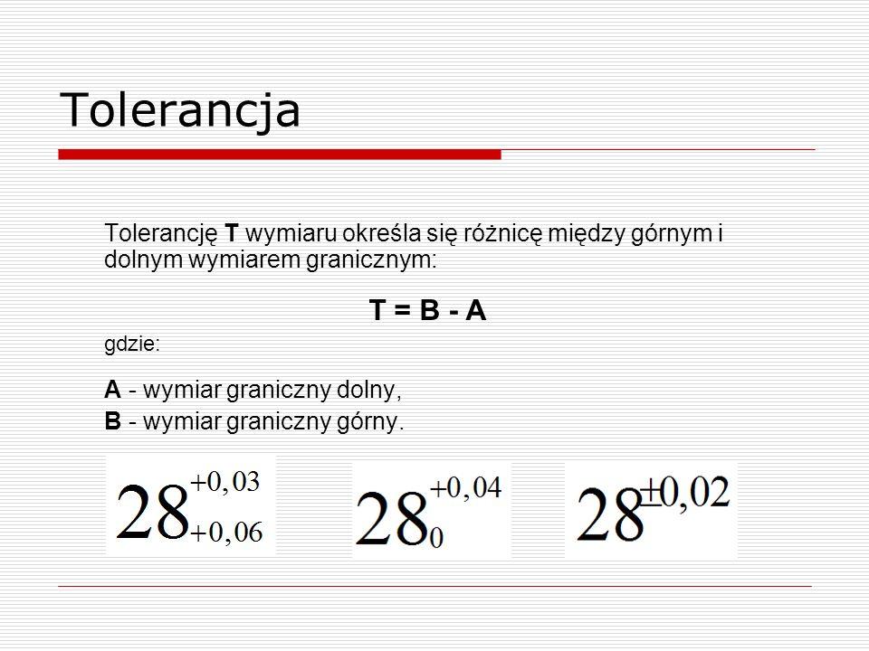 Tolerancja Tolerancję T wymiaru określa się różnicę między górnym i dolnym wymiarem granicznym: T = B - A.