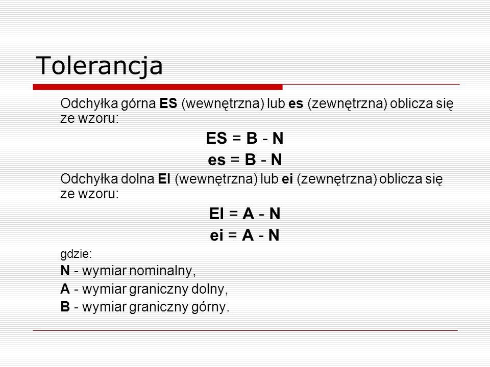 Tolerancja ES = B - N es = B - N EI = A - N ei = A - N