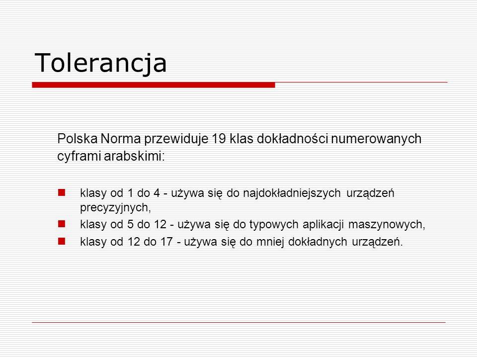 Tolerancja Polska Norma przewiduje 19 klas dokładności numerowanych cyframi arabskimi: