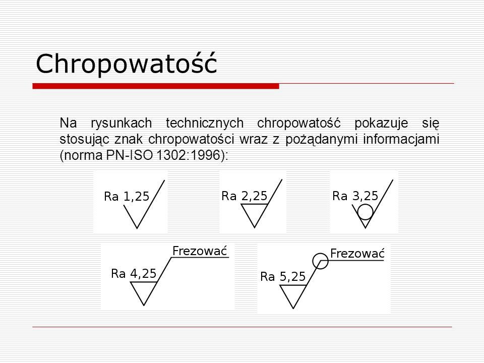 Chropowatość Na rysunkach technicznych chropowatość pokazuje się stosując znak chropowatości wraz z pożądanymi informacjami (norma PN-ISO 1302:1996):