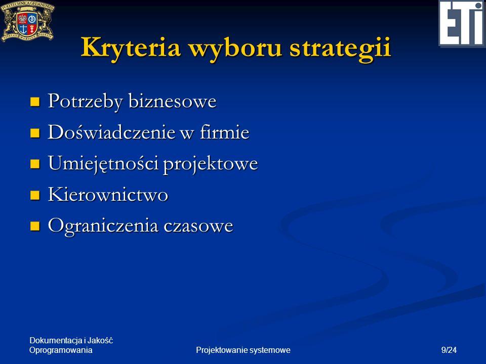 Kryteria wyboru strategii
