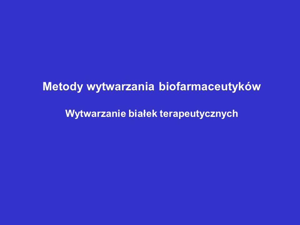Metody wytwarzania biofarmaceutyków Wytwarzanie białek terapeutycznych