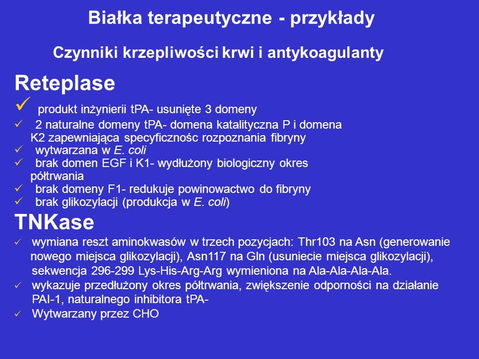 produkt inżynierii tPA- usunięte 3 domeny