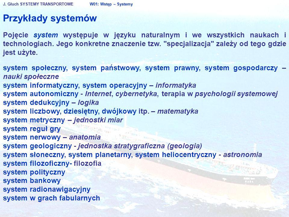 J. Głuch SYSTEMY TRANSPORTOWE W01: Wstęp – Systemy