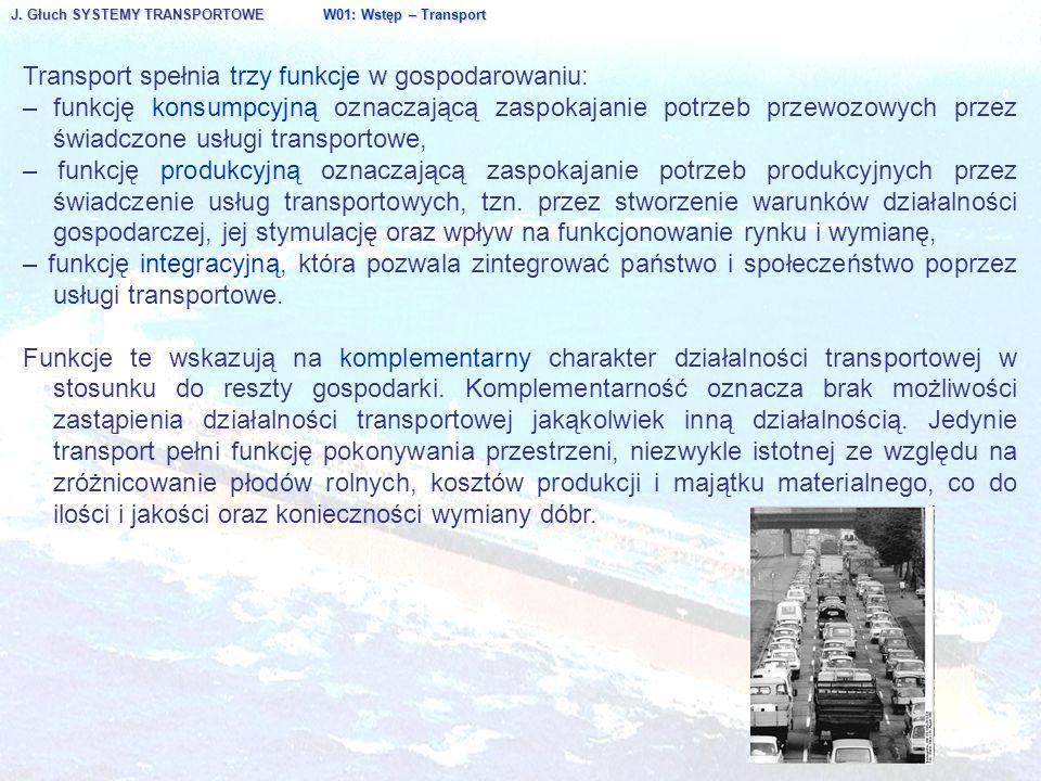 Transport spełnia trzy funkcje w gospodarowaniu: