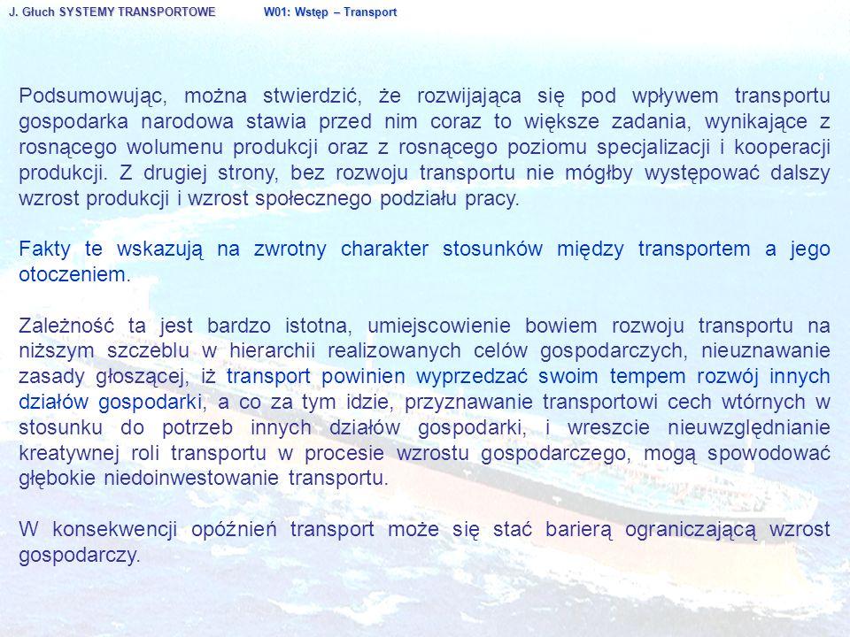 J. Głuch SYSTEMY TRANSPORTOWE W01: Wstęp – Transport