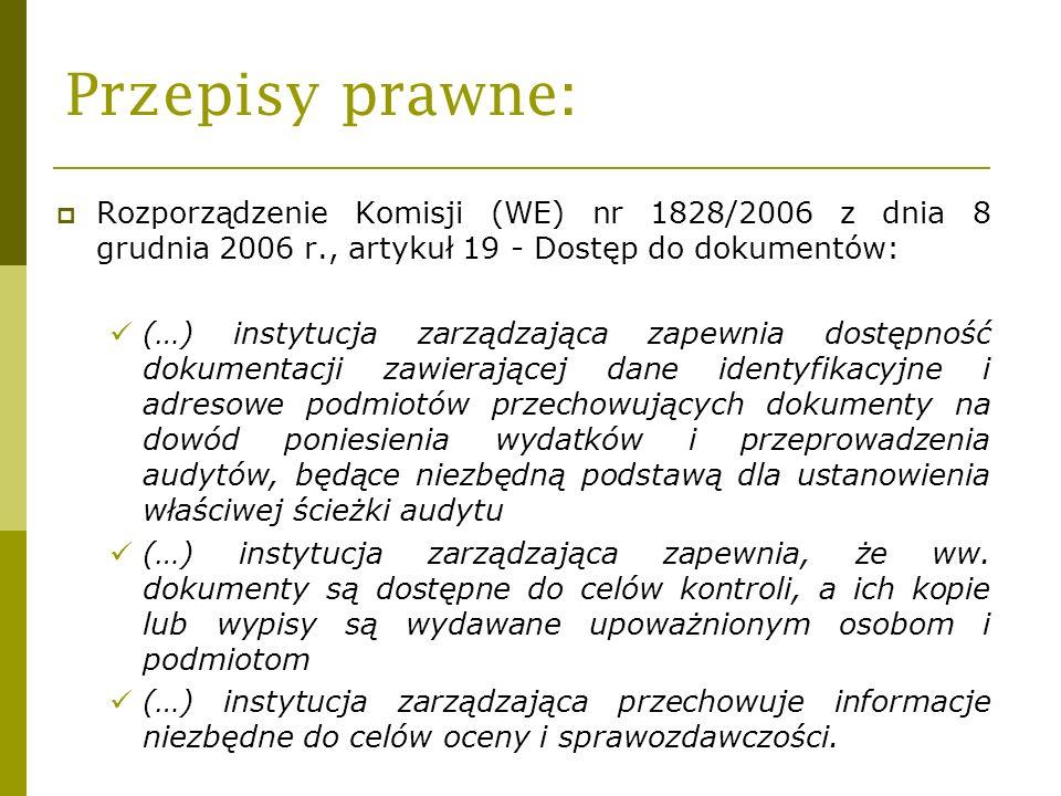 Przepisy prawne: Rozporządzenie Komisji (WE) nr 1828/2006 z dnia 8 grudnia 2006 r., artykuł 19 - Dostęp do dokumentów: