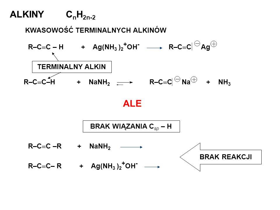 ALKINY CnH2n-2 ALE KWASOWOŚĆ TERMINALNYCH ALKINÓW