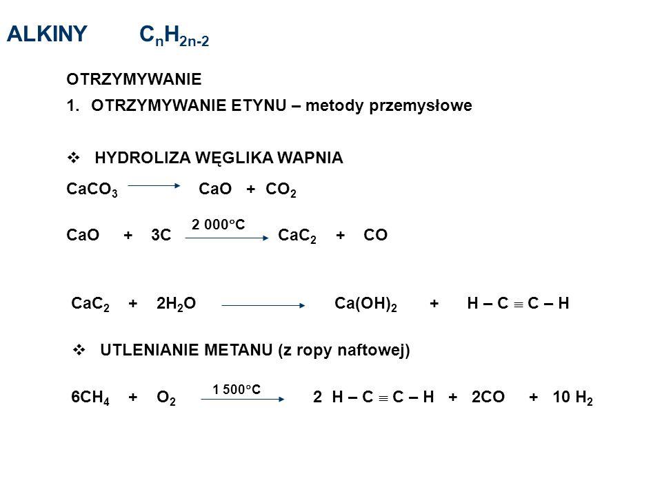 ALKINY CnH2n-2 OTRZYMYWANIE OTRZYMYWANIE ETYNU – metody przemysłowe