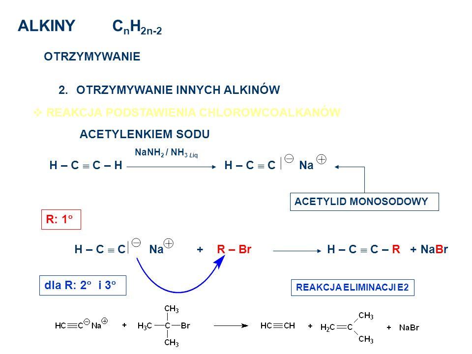 ALKINY CnH2n-2 OTRZYMYWANIE OTRZYMYWANIE INNYCH ALKINÓW