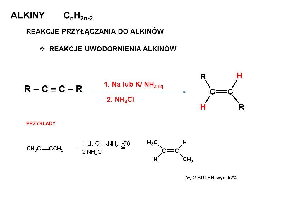 ALKINY CnH2n-2 R – C  C – R REAKCJE PRZYŁĄCZANIA DO ALKINÓW