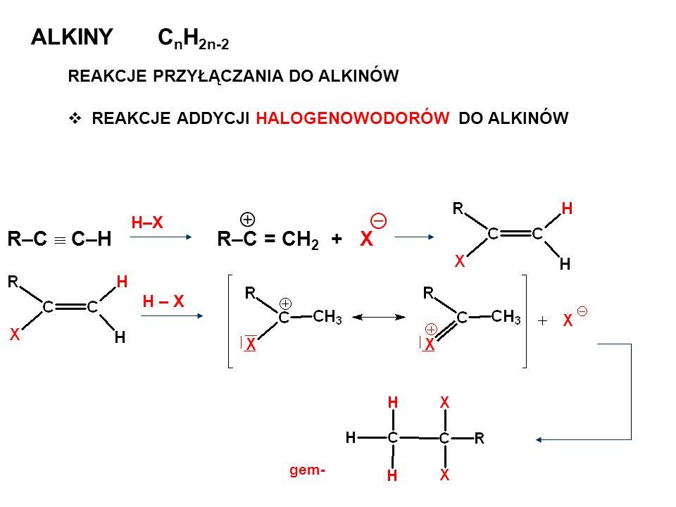ALKINY CnH2n-2 R–C  C–H R–C = CH2 + X REAKCJE PRZYŁĄCZANIA DO ALKINÓW