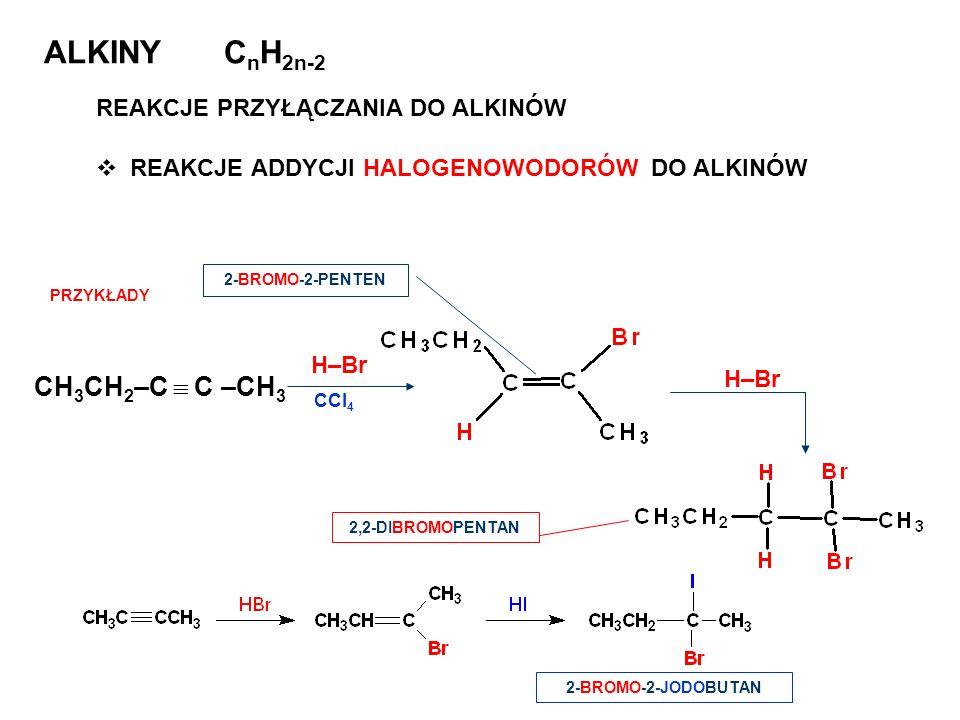 ALKINY CnH2n-2 CH3CH2–C  C –CH3 REAKCJE PRZYŁĄCZANIA DO ALKINÓW