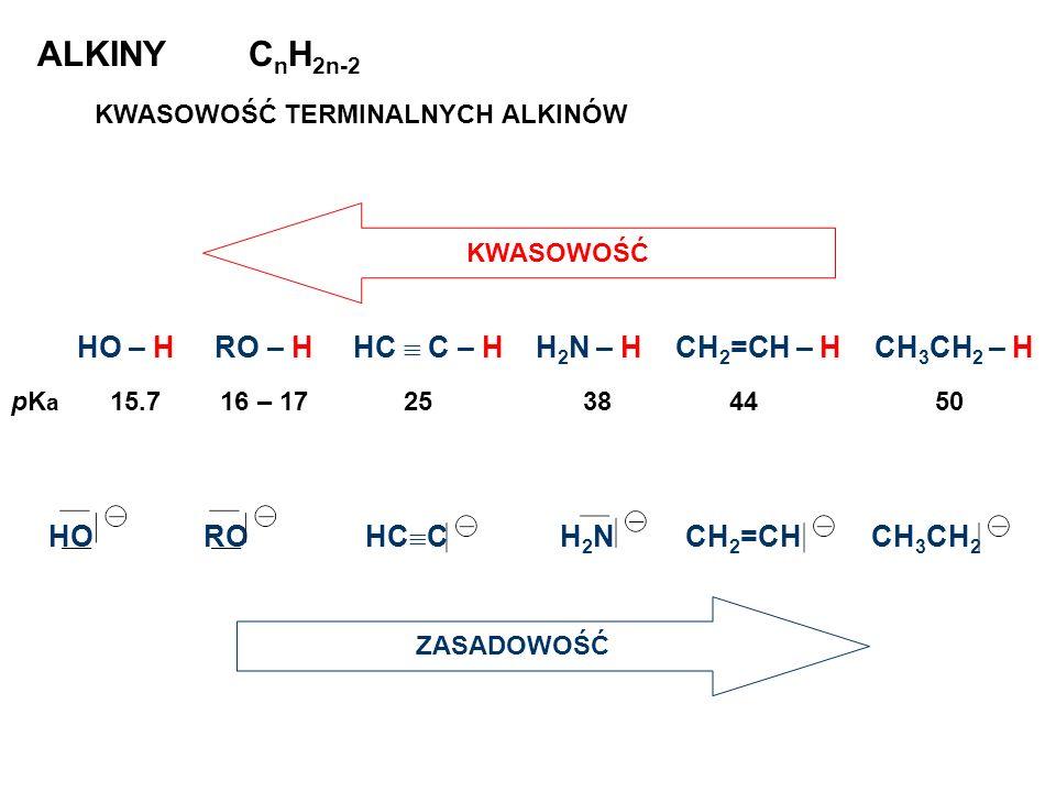 ALKINY CnH2n-2 HO – H RO – H HC  C – H H2N – H CH2=CH – H CH3CH2 – H