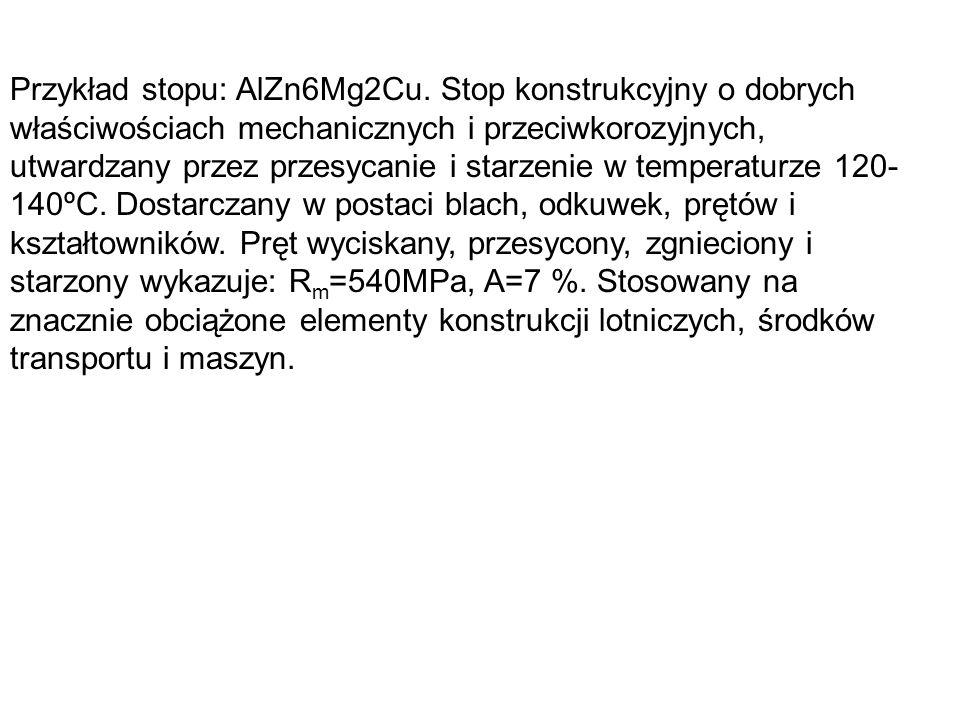 Przykład stopu: AlZn6Mg2Cu