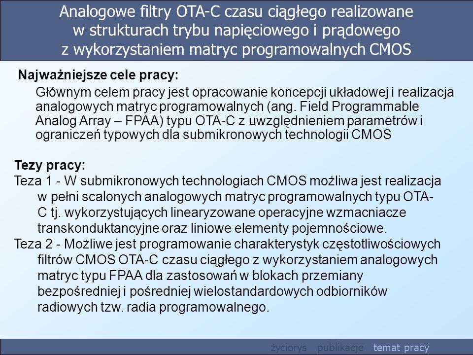 Analogowe filtry OTA-C czasu ciągłego realizowane