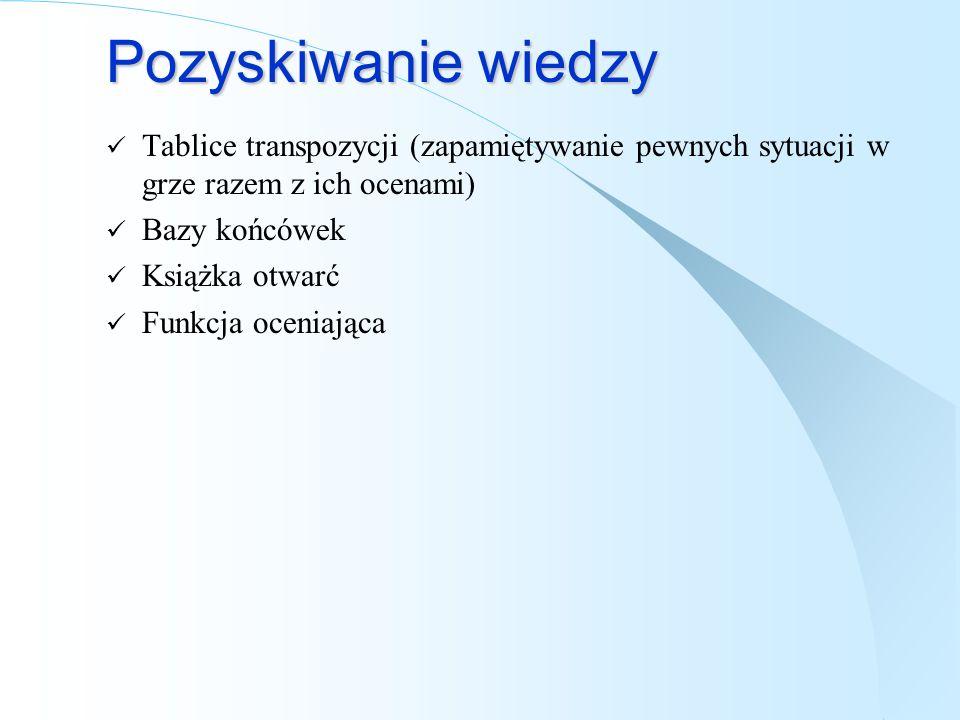Pozyskiwanie wiedzy Tablice transpozycji (zapamiętywanie pewnych sytuacji w grze razem z ich ocenami)