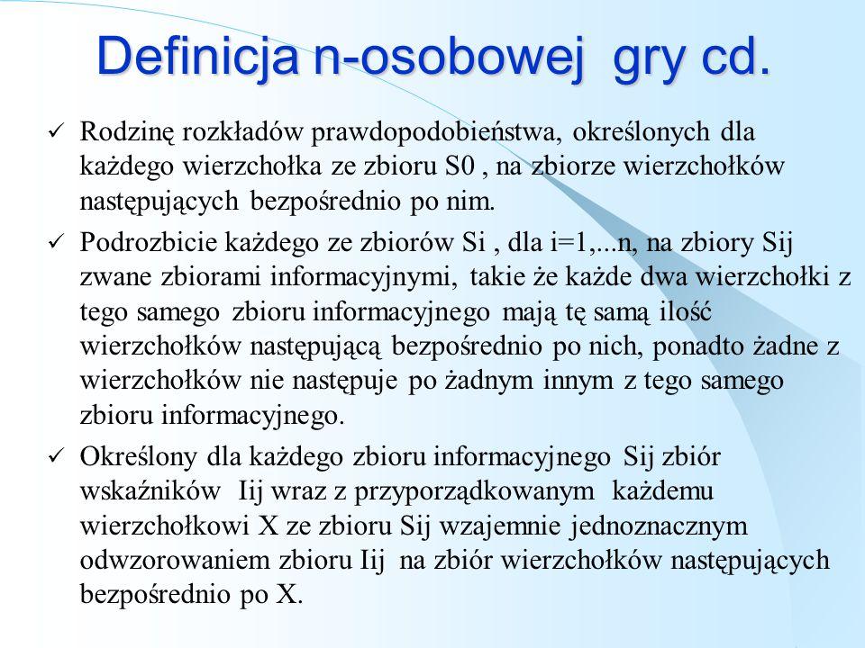 Definicja n-osobowej gry cd.