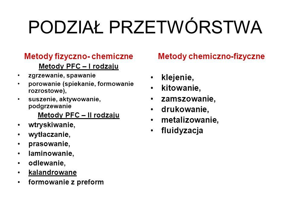 Metody fizyczno- chemiczne Metody chemiczno-fizyczne