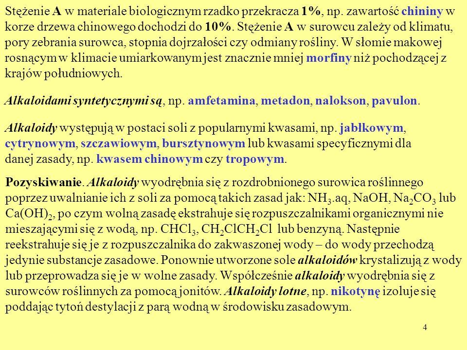 Stężenie A w materiale biologicznym rzadko przekracza 1%, np