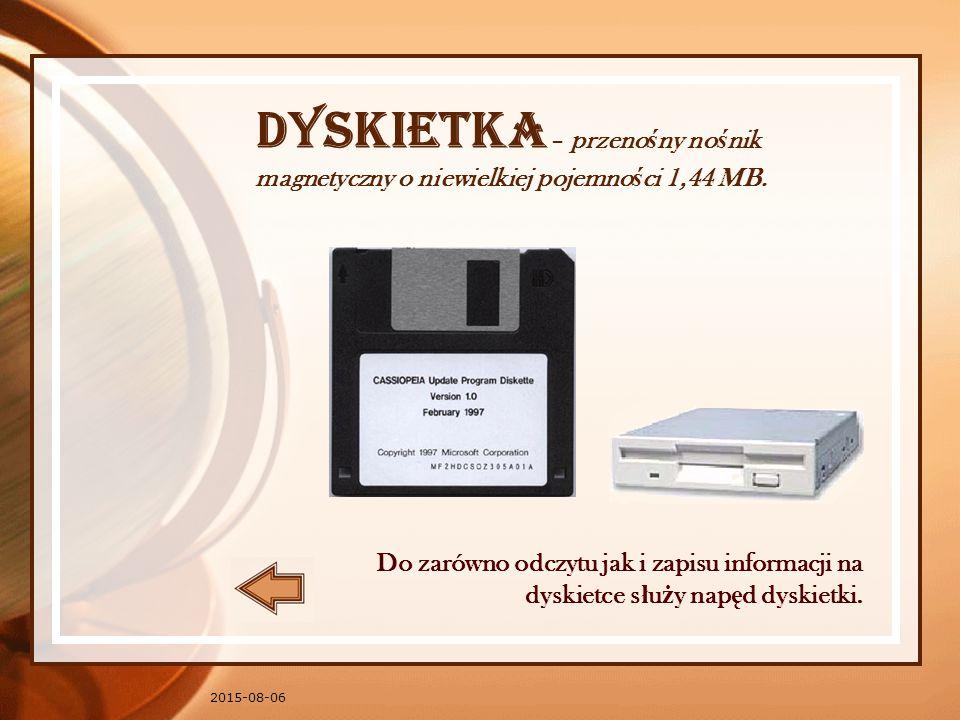Dyskietka – przenośny nośnik magnetyczny o niewielkiej pojemności 1,44 MB.