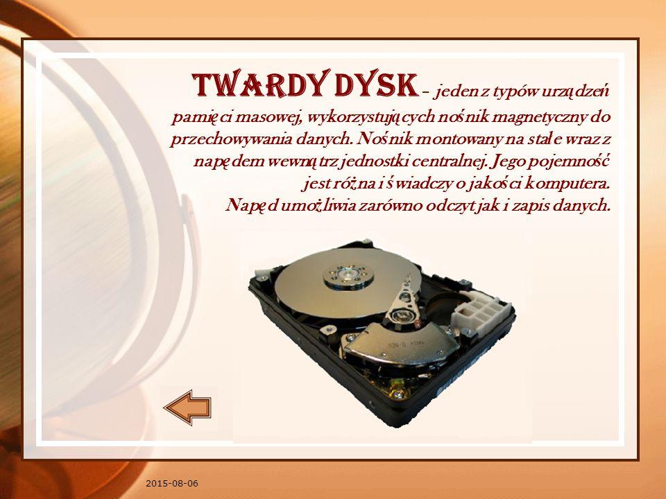 Twardy dysk – jeden z typów urządzeń pamięci masowej, wykorzystujących nośnik magnetyczny do przechowywania danych. Nośnik montowany na stałe wraz z napędem wewnątrz jednostki centralnej. Jego pojemność