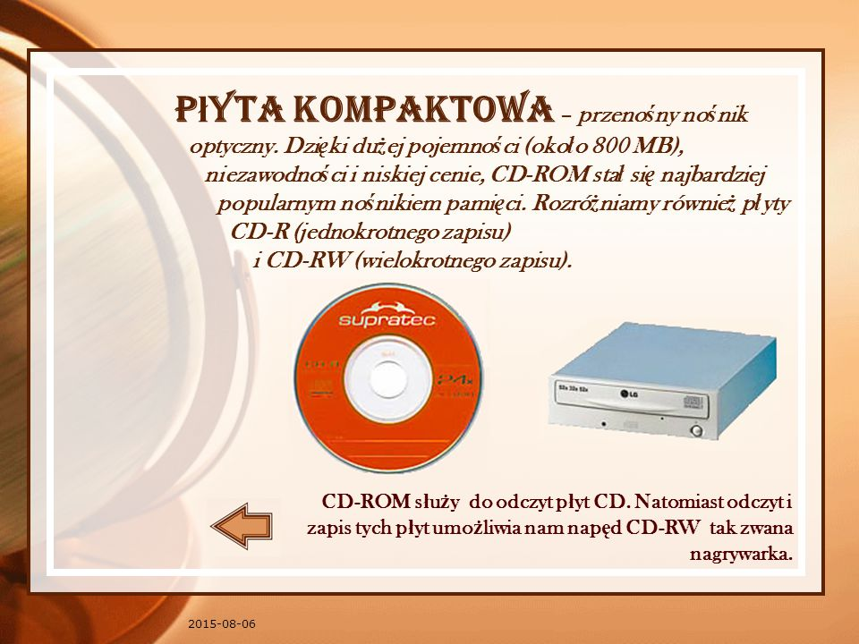 Płyta kompaktowa – przenośny nośnik optyczny