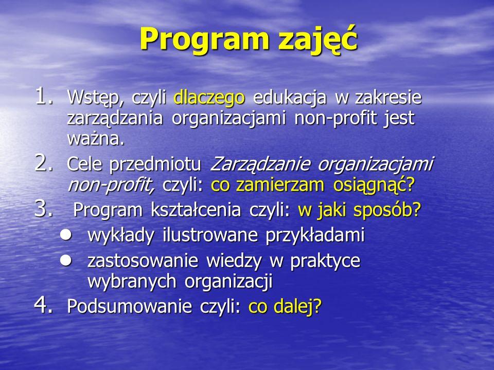 Program zajęć Wstęp, czyli dlaczego edukacja w zakresie zarządzania organizacjami non-profit jest ważna.