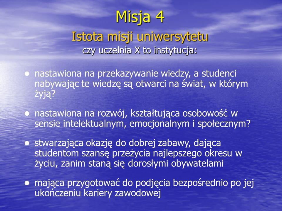 Istota misji uniwersytetu czy uczelnia X to instytucja: